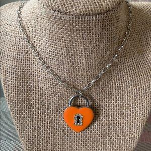 Girls Orange Heart Necklace